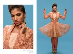 A jacket styled self embellished top in peach paired with dhoti pants by IndiaBoulevard. #indianfashion #bollywood #indianoutfits #indianwedding #indianweddingdress #indianweddingoutfits #custommade #designdevelopdeliver #buycustom #indiaboulevard