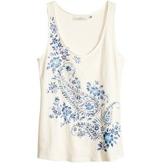 H&M Jersey top (135 UAH) ❤ liked on Polyvore featuring tops, h&m, shirts, tank tops, white, h&m tops, jersey shirts, white top, jersey tops and shirts & tops