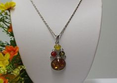 $11.99 Looks Like Genuine Amber 18k White Gold Plate 18 Inches Lobster Claw Clasp