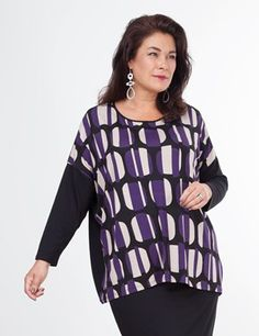 Tarin top | Liven up your wardrobe with this abstract design. Cut to a relaxed fit and with dropped sleeves, this top boasts a round neck and printed front. The back is made from plain black jersey fabric and black jersey sleeves add further texture