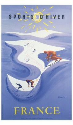 Winter sports France vintage poster www.skibug.co.uk
