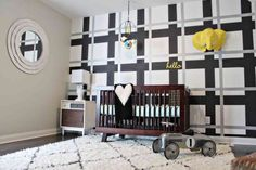 Boy's Nursery with Plaid Accent Wall - #madforplaid #nursery