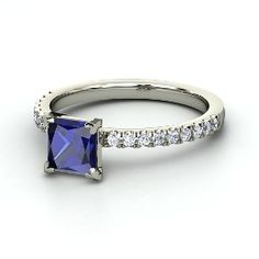 Celeste Ring, Princess Sapphire Platinum Ring with Diamond from Gemvara