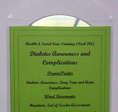 Training Resources CD DIABETES AWARENESS & Understanding Health and Social Care