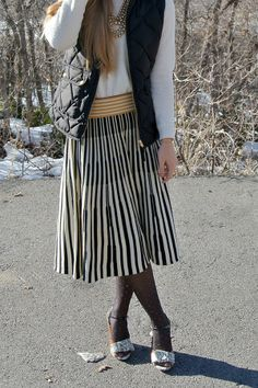 black J.Crew vest with Anthro knit skirt