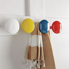 simple lacquer hooks; great for a kids bathroom