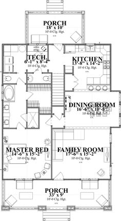 Craftsman Style House Plan - 4 Beds 3 Baths 2253 Sq/Ft Plan #63-381 Floor Plan - Main Floor Plan - Houseplans.com