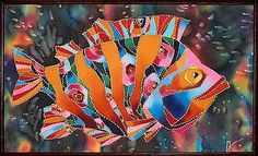 Оранжевый окунь.Игорь Платонов. Silk Painting, Watercolor Paintings, Red Fish Blue Fish, Wood Fish, Barn Art, Cool Art Projects, Little Fish, Painted Silk, Sea Art