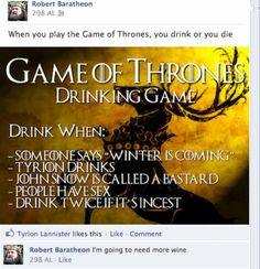 Game of Thrones, Drinking game