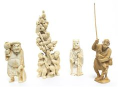 Lot 2498  A Group of Four Japanese Carved Ivory Okimono,  one holding a fish and fishing line, with box.  Height of tallest 5 inches.  Estim...