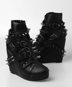 leather wedges with spike covered straps