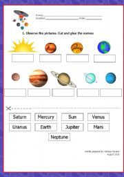 Solar System Worksheet - Ordering Planets | Summer Planet ...