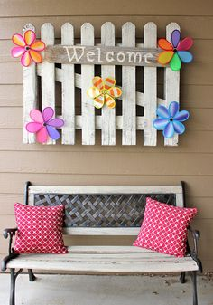 Awesome DIY Spring Porch Decorating Projects - Page 15 of 30 Spring Home Decor, Spring Crafts, Spring Decorations, Garden Decorations, Outdoor Decorations, Flower Decorations, Christmas Decorations, Paint Stick Crafts, Bright Pillows