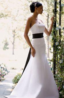 Wedding Dress With Black Satin