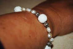 Pearl and Thai Silver Bracelet with Carved Beads £19.99