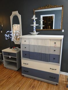 50's large chest and nightstand in a tri color pallet of old white, old violet and Paris gray. Modern Vintage