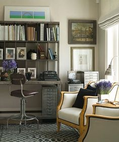 A working space and a thinking space--liking the incorporation of a more comfortable sitting area in the home office