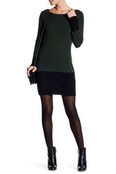 Long Sleeve Cashmere Colorblock Hem Sweater Dress