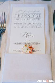 "It's a classic ""thank you"" and wedding reception menu, all in one! So clever and classy I Photo by @Zofia Photo I Custom by Nico and Lala"