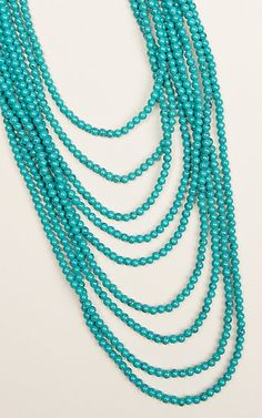 Ashlyn & Rose Marbled Turquoise Beads with 9 Strand Layers Necklace | Cavender's