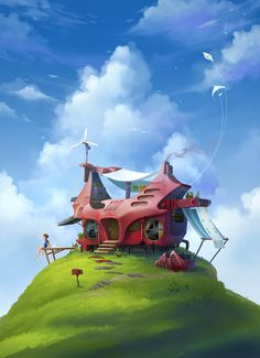 A silly pic. The wonky looking house is a paint over of...something. Guess what! ---- Steps here : House on a Hill Steps ----
