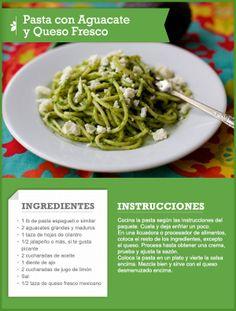 Pasta con Aguacate y Queso Fresco | QueRicaVida.com