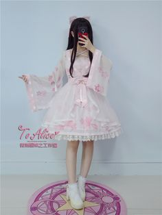 【To Alice】L340原创lolita中华风金鱼姬印花假两件op连衣裙-淘宝网
