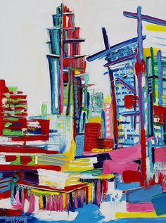 Buildings - 130 x 97 cm - Huile sur toile