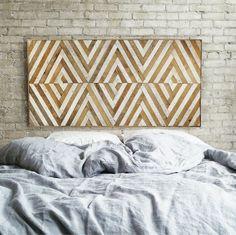 Reclaimed Wood Wall Art,Queen Headboard, Lath, Home Decor,Geometric Pattern, Chevron