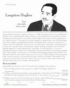 Black History Month Fourth Grade History Worksheets: Langston Hughes: Historical Heroes Fourth Grade, Second Grade, Black History Month Activities, Langston Hughes, Map Skills, African History, Social Studies, Homeschooling, Seasons Worksheets