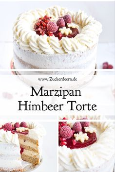 Marzipan Himbeer Torte Here you will find a Christmas recipe for a marzipan raspberry cake; Marzipan cream on sponge cake bases; filled with raspberries and pomegranate seeds! Delicious Cake Recipes, Easy Cake Recipes, Yummy Cakes, Pie Recipes, Marzipan Creme, Lemon Mousse, Best Pie, Flaky Pastry, Raspberry Cake