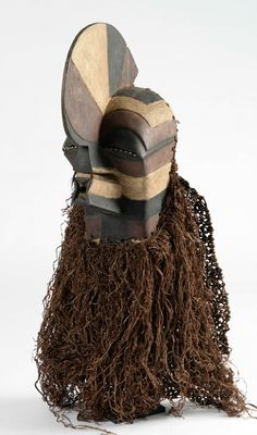 Africa | Male 'Kifwébé' mask from the Songye people of DR Congo | Wood, pigment, natural fiber