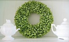 Get boxwood garland at Michaels and green wreath form. Happy At Home: DIY Boxwood Wreath Boxwood Wreath Diy, Diy Wreath, Wreath Ideas, Wreath Making, Door Wreaths, Burlap Wreaths, Home Crafts, Diy And Crafts, Paper Crafts