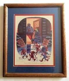 "Vintage Framed Buck Brown Christmas Cartoon Santa Elves on Strike ""Taiwan"" #CartoonIllustration"
