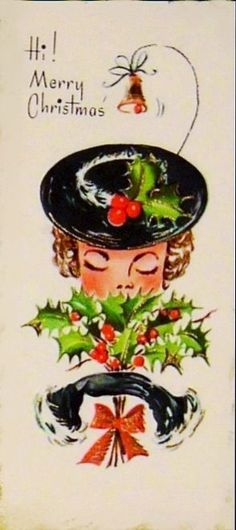 Vintage Christmas Card, ca. 1950s.#
