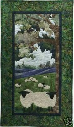 """Pine Needles specializes in Applique Quilt Patterns. McKenna Ryan's pioneering """"Simple and Easy"""" fusible web method changed the quilting industry and delivers unmatched artistry to every quilter! Batik Quilts, Panel Quilts, Suffolk Sheep, Sheep Crafts, Applique Quilt Patterns, Applique Ideas, Landscape Art Quilts, Quilt Modernen, Farm Quilt"""
