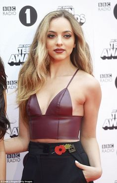 Lovely in leather: Jade, 22, made the most of her slim figure in a skimpy burgundy bralet