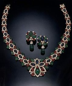 Princess Michel of Yugoslavia diamond, emerald, sapphire and ruby necklace and earrings.