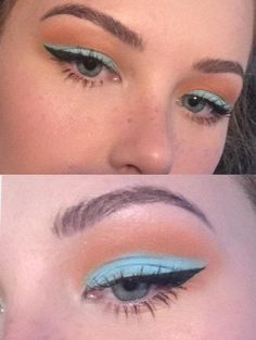 Eye Makeup Peach Winged Eyeliner Ideas For 2019 Makeup Eye Looks, No Eyeliner Makeup, Winged Eyeliner, Skin Makeup, Color Eyeliner, Blue Eyeliner Looks, Peach Makeup Look, Eyeliner Styles, Pin Up Eyeliner