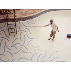 David Hockney \ The Roosevelt Hotel, Hollywood, CA  In 1988, David Hockney completed a multi-million dollar mural painted on the bottom of the Tropicana Pool at the Roosevelt Hotel. It has been hailed as one of Los Angeles' greatest artistic and architectural marvels.  #davidhockney #collecteurs