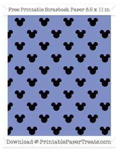 Free Pastel Dark Blue Small Mickey Mouse Head Pattern Paper