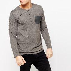 Maglia uomo serafino con tasca maniche lunghe #streetwear #tshirt