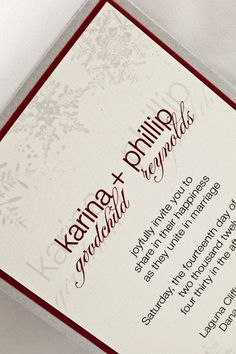 Wedding Invitation: Winter Snowflake Red and Silver
