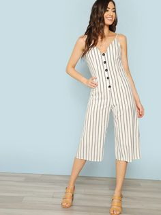 Button Detail Stripe Jumper Halter Jumpsuit, Striped Jumpsuit, Simple Outfits, Casual Outfits, Summer Outfits, Tiered Dress, Cotton Style, Linen Dresses, One Piece Swimwear