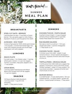 Healthy Summer Meal Plan | A Nutritionist Eats