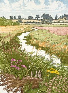 """Summer Meadows"" by Jan Dingle (etching) Art And Illustration, Illustrations, Landscape Art, Landscape Paintings, Landscape Drawings, Art Graphique, Aesthetic Art, Japanese Art, Cute Art"