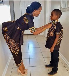 Daughter n grandson African Dresses For Kids, African Print Dresses, African Fashion Dresses, African Attire, African Wear, African Women, African Inspired Fashion, African Print Fashion, Style Africain