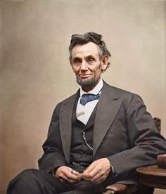 Colorized photo of President of the United States President Abraham Lincoln.