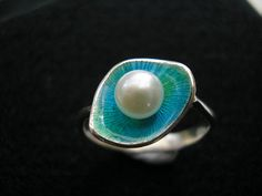 Turquoise  Lagoon Pearl Ring by JewelryByTibbs on Etsy, $185.00
