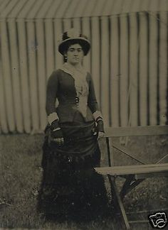 ANTIQUE-CIRCUS-TENT-STRIPES-VICTORIAN-LOVELY-LADY-ABSTRACT-OLD-TINTYPE-PHOTO